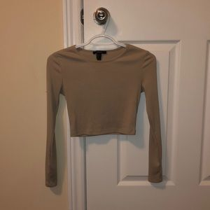 Ribbed Cropped Long-sleeved Top